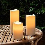 Lights4fun 3er Set LED Kerzen für Außen Timer