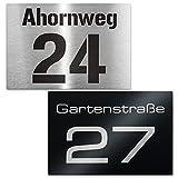 Hausnummer Edelstahl-Schild - Nummer und Straßenname - inkl. Beschriftung - Wandmontage - Maße:...