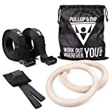 PULLUP & DIP Turnringe Holz Gym Rings Premium Gymnastikringe Gym Ringe Turnerringe für Crossfit &...