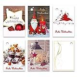 25er Pack Geschenkanhänger 'Frohe Weihnachten' ca. 52 x 74 mm verschiedene Motive, Anhänger,...