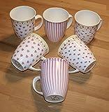 JADERA Kaffeebecher Teepott 6er Set Porzellan pink/weiß