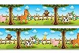 Selbstklebende Bordüre 'Tiere auf dem Bauernhof', 4-teilig 560x15cm, Tapetenbordüre, Wandbordüre,...