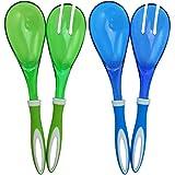 COM-FOUR® 4-teiliges Set Salatbesteck in blau und grün zum Servieren Ihrer köstlichen Salate