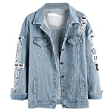 Damen Casual Jeansjacke mit Patches Blouson Knopfverschluss Cut-outs Denim Jacket Jeans-Jacke (EU...