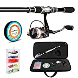 PLUSINNO Angelrute und Rolle Combos Full Kit, Spinning Fishing Gear Organizer Pole-Sets mit Line...