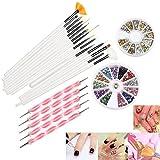 RUIMIO Nail Art Set: bestehend aus 15 Nail Art Pinseln, 12 Farbigen Strasssteine, 5 Punktierung...