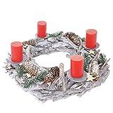 Mendler Adventskranz XXL rund, Weihnachtsdeko Tischkranz, Holz Ø 48cm weiß-grau