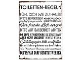 WANDSCHILD Metallschild TOILETTEN REGELN Lustig Dekoschild Badezimmer WC