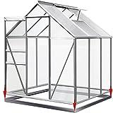 Aluminium Gewächshaus 5,85m³ mit Fundament Treibhaus Gartenhaus Frühbeet Pflanzenhaus Aufzucht...