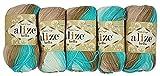 5 x 50 Gramm Baumwolle mehrfarbig mit Farbverlauf, 250 Gramm Wolle aus 100% Baumwolle, Strickwolle...