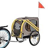 [pro.tec] Fahrradanhänger - Hundeanhänger - grau/gelb/schwarz -130 x 73 x 94 cm - max....