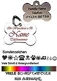 Anhänger fürs Halsband Knochen mit Motiv-Sonderzeichen. Viele Farben & Schriftarten personalisiert...