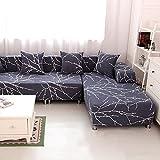 HYSENM 1/2/3/4 Sitzer Sofabezug Sofaüberwurf Stretch weich elastisch farbecht Blumen-Muster, Grau 4...