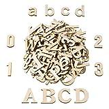 Satinior 124 Stücke Total Holz Große Buchstaben Holz Kleinbuchstaben Hölzerne Zahlen für Kunst...