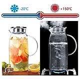 AckMond 1800 ml Karaffe Glas mit Deckel aus Edelstahl und Auslauf Glaskaraffe Wasserkrug mit Griff,...