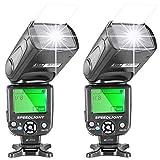 Neewer® 2x NW-561 speedlite Blitzbeleuchtung Blitzgerät mit LED Bildschirm für Canon & Nikon DSLR...