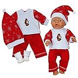 Puppenkleidung 4-tlg Set für Puppe wie z.B. Baby Born bis 43 cm (ohne Puppe) (Rot)