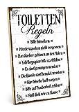TypeStoff Holzschild mit Spruch – TOILETTEN-Regeln – im Vintage-Look mit Zitat als Geschenk und...
