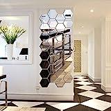 12 Stück Spiegelfliesen Selbstklebend, VIGORFUN Hexagon Spiegel Wandspiegel zum Wanddekoration (12...