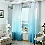 LCLrute 1er Gardine Vorhang transparent aus Voile Dekoschal Gradient Farbe Fenster Screening 270cm x...