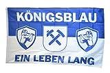 Fahne / Flagge Gelsenkirchen - Königsblau ein Leben lang + gratis Sticker, Flaggenfritze