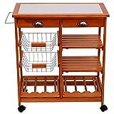 Homcom® Servierwagen Rollwagen Küchenwagen Küchentrolley Küchenrollwagen Beistellwagen