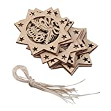 10 Stk. Achteck Glocken Holzverzierung Weihnachtsbaum Dekor W. Saite