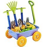 deAO Spielset: Schubkarre und Gartengeräte;Botanik- und Gartenset für Kinder,Set enthält 10...