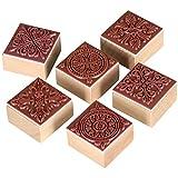 TRIXES Set mit 6 quadratischen Stempeln mit verschiedenen Ornamenten für Kunst und Handwerk mit...