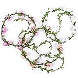 3 Stück Blumen Stirnband Blumenkrone Blumenkranz Haarbänder Haarkranz Kopfband Floral Girlande...