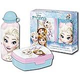 Disney Frozen Die Eiskönigin Brotdose und Aluminium Trinkflasche Set