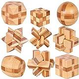 Gracelaza Denksportaufgaben Cube - Knobelspiele Set - Holzspielzeug - 3D Puzzle - Geduldspiel aus...
