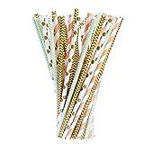 Blume Papier Trinkhalm Biologisch Papier Stroh, 100 Stück, Gold, Grün und Orange