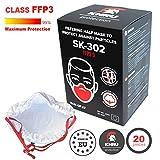 20x Atemschutzmaske Staub FFP3 | Atemmaske Atemschutz Halbmaske Staubschutz Respirator Disposable...