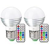 LED RGB Lampe, Minkle 3W A19 E27 Base Dimmbare Birne mit Fernbedienung, Kaltweißem Licht, RGB +...