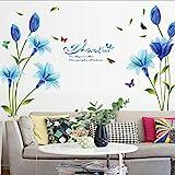 Wandtattoo, blaue Lilien, Blumen, Vinyl-Aufkleber, kunstvolles Wandbild, Wand-Dekoration, für...