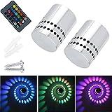 2 Stück Lamker 3W LED Wandleuchte Wandlampe Dimmbar Innen RGB Wandlicht Deckenleuchte Effektlicht...