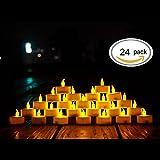 LED Kerzen,24 Stück LED Teelichter Kerzen CR2032 Batterie betrieben Kerzen unscented flammenlose...