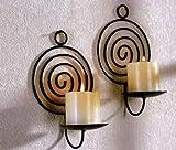 2 Stück Wandkerzenhalter Spirale schwarz Metall Wand Kerzen Halter Leuchter 2er Set Kerzenhalter...