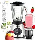 800 Watt Edelstahl Standmixer mit Glas-Behälter 1,5 Liter und Kaffeemühle, BPA-Free, Smoothie...