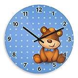 Wanduhr mit Bärchen-Motiv für Jungen – blau - | Kinderzimmer-Uhr | Kinder-Uhr