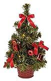 Idena 8582154 Weihnachtsbaum,mit 10 LED und roter Deko, batteriebetrieben, warm weiß