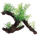 Aquarium Dekoration Pflanze - TOOGOO(R)Aquarium Schwemmholz Plastik Baum 5.7 inch Gruen Dunkelbraun