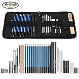 GHB 33 Stück Bleistifte Skizzierstifte Set Skizzieren und Zeichnen Professionelle Art Set mit...