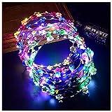 FunPa Led Blumenkranz, 7pcs Garland Stirnband Dekorative Leucht 10 LEDs Böhmen Blume Stirnband...