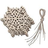 10pcs Schneeflocke Holzverzierung Weihnachtsbaum Ornament Haengen Dekor
