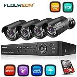 FLOUREON Videoüberwachung 8CH AHD 1080N DVR Recorder mit 1T Festplatte + 4X 3000TVL 2.0MP 1080P...
