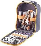PEARL Picknicktasche: Picknick-Set für 2 Personen: Gläser, Servietten, Teller, Besteck...