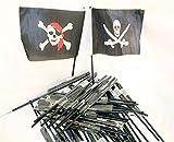 24 x Piratenfahnen Piratenfahne kleine Pirat Fahne Totenkopf Karneval Party