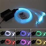Milkee Glasfaser-LED-Licht, 16 W, RGBW, 450 Stück, 0,75 mm, 2 m, für Sternenhimmel +...